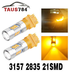2x 3157 3156 21 Smd 2835 Yellow Amber Turn Signal Led Light Bulbs Parking Light