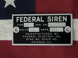 Federal Electric Co Older Federal Siren Models E 8 Replacement Badge 6 Volt