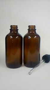 Boston Round Amber Glass Bottles 4 Oz With Black Droppers 128 Ct