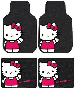 Black Red Hello Kitty Cat Waving 4pc Floor Mats Front Rear For Cars Trucks Hs1