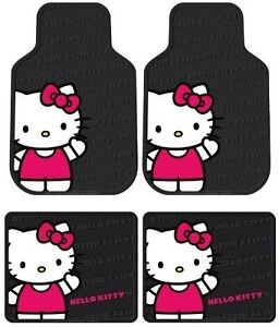 Licensed Hello Kitty Waving 4pc Floor Mats Front Rear For Cars