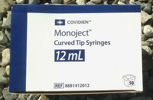 50 X 412 Syringe Monoject Curved Tip Syringes 12ml 1 Box 8881412012