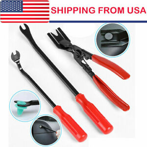 3pcs Car Trim Clip Upholstery Removal Tool Door Panel Fastener Pin Pliers Puller