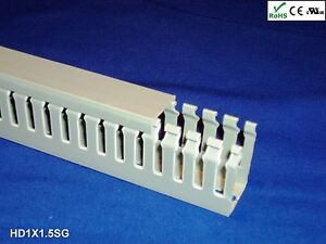 18 New 1 x1 5 x2m Narrow Finger Open Slot Wire Cable Raceway Duct Cover pvc gray