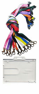 Badge Buddy Double Id Card Holder Id Neck Strap Lanyard With Metal Clip