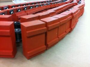 163 Hitachi Ansi 50 Attachment Roller Chain With Rubber Pads Conveyor Belt Part
