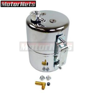 Chrome Vacuum Canister Reservoir Brake Booster Can With Check Valve And Hardware