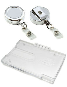 Heavy Duty Chrome Retractable Reel Enclosed Or Badge Buddy Id Card Holder Lot