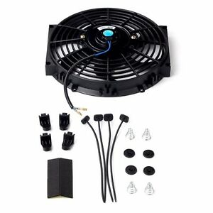 10 Inch Universal Slim Fan Push Pull Electric Radiator Cooling 12v 80w 1570 Cfm
