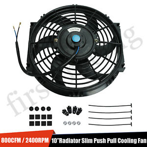 10 Inch Universal Slim Fan Push Pull Electric Radiator Cooling 12v 80w 800 Cfm