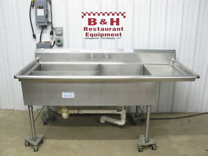 77 X 36 Three 3 Bowl Compartment Stainless Steel Prep Wash Sink 6 5 X 3