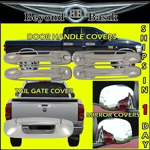 02 08 Dodge Ram 1500 2500 5500 Chrome 4 Door Handle Covers Nopsk mirror tailgate