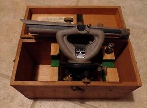 Vintage Cl Berger 2m 1621 Transit Level W Wood Case Plumb Bob Working Cond