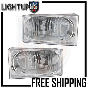 Headlights Headlamps Pair Left Right Set For 01 04 Ford Excursion