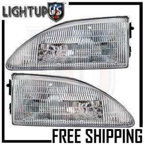 Headlights Headlamps Pair Left Right Set For 94 98 Ford Mustang