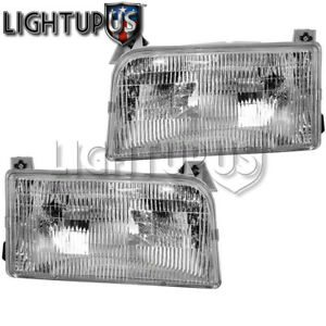 Left Right Sides Pair Head Lights For 1992 1996 Ford F150 F250 F350 Bronco