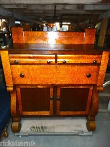 C1860 Empire Sideboard Birdseye Maple And Cherry