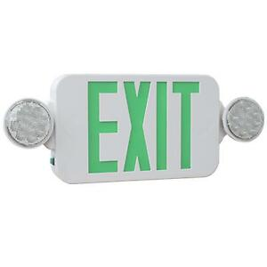 High Output Led Exit Sign With Lights Combo Green And White Kl meslho g u wh