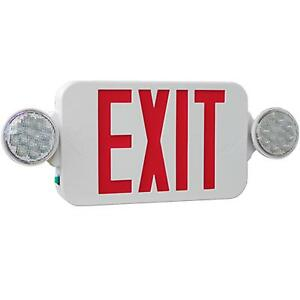 High Output Led Exit Sign With Lights Combo Red And White Kl meslho r u wh