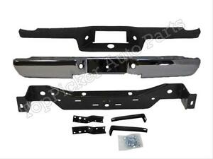 For 1993 2011 Ford Ranger Styleside Rear Step Bumper Chr Top Pad Hitch Brackets