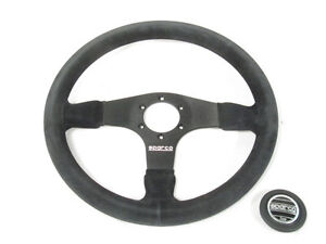 Sparco R375 Steering Wheel 350mm Black Suede 36mm Dish 015r375psn New