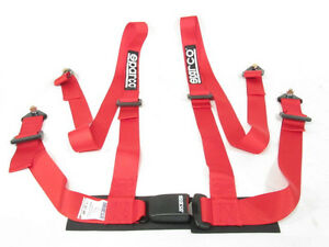 Sparco Racing Seat Belt Safety Harness Street Tuner Red 2 inch 4 point Bolt in
