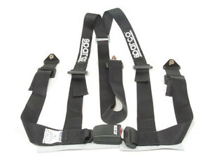 Sparco Racing Seat Belt Safety Harness Street Tuner Black 2 Inch 3 Point Bolt In