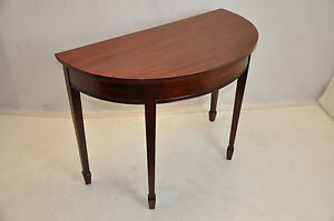 Large Vintage Sheraton Style Mahogany Demi Lune Hall Table Excellent Condition