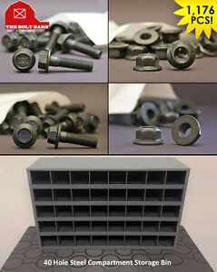 Inch Metric Flange Bolt Lock Nut Assortment With 40 Hole Bin 1176 Pieces