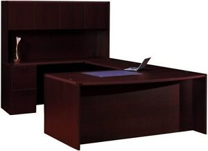 Cherryman Amber Bowfront U shape Executive Office Desk With Hutch 1 Pedestals
