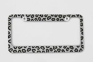 Bling Grey Leopard Diamond License Plate Frame