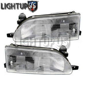 Left Right Sides Pair Halogen Headlamps Headlights For 1993 1997 Toyota Corolla