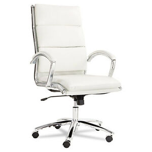 Alera Neratoli Modern High back Swivel tilt Chair White Faux Leather Chrome