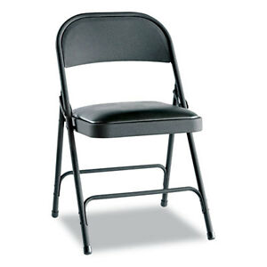Alera Steel Folding Chair With Padded Seat Graphite Grey Set Of 4 Brand New