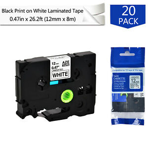 20pk 12mm Label Tape For Brother P touch Pt d400 Pt d600 Tze 231 Black On White