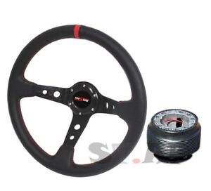 Mustang Godsnow Deep Dish 350mm Racing Steering Wheel Hub Adapter Black Red