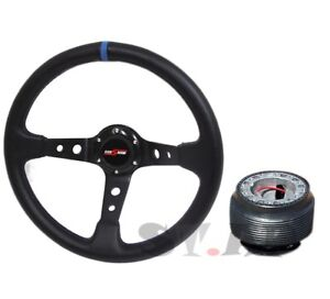 Godsnow Deep Dish 350mm Racing Steering Wheel Hub Adapter Black Blue Mustang New