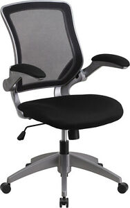 Mid back Black Mesh Task Chair With Flip up Arms Office Chair