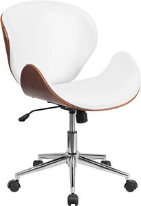 Mid back Walnut Wood Swivel Conference Chair In White Leather Office Chair