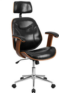 High Back Black Leather Executive Wood Office Chair Office Desk Chair