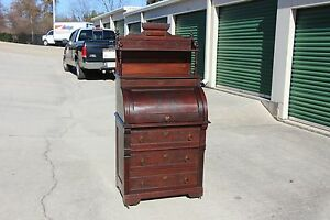 Walnut Victorian Original Finish Cylinder Roll Desk W 3 Drawers
