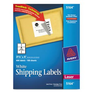 Shipping Labels W ultrahold Ad Trueblock Laser 3 1 3 X 4 White 600 box