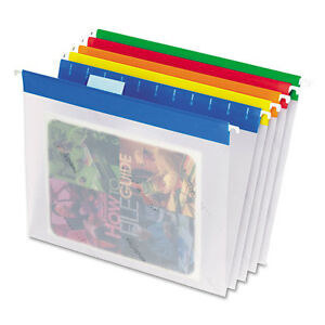 Easyview Poly Hanging File Folders 1 5 Tab Letter Assorted Colors 25 box