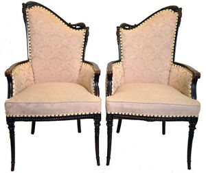 Vintage Pair Of Hollywood Regency Fireside Chairs Great Original Condition