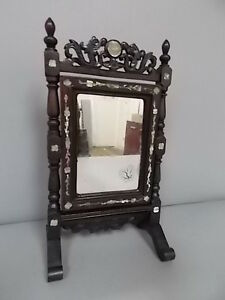 Rare Antique Chinese Rosewood Vanity Mirror W Mother Of Pearl Inlay
