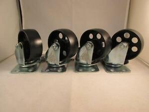 4 3 Steel Swivel Wheels Caster Casters 330 Lb Rated Capacity Each