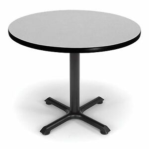 36 Round Cafe Table With Gray Nebula Laminated Top Restaurant Table Height