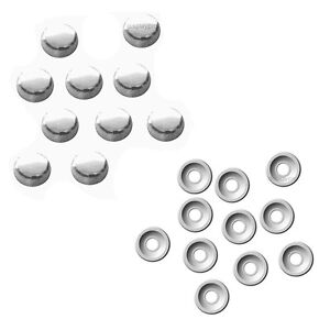 8 Chrome Fasteners Caps License Plate Tag Frame Auto Car Truck Screw Covers