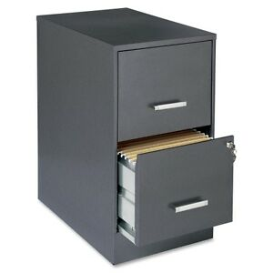 Lorell 16871 2 drawer Durable Steel File Cabinet Locking Drawer Charcoal Black