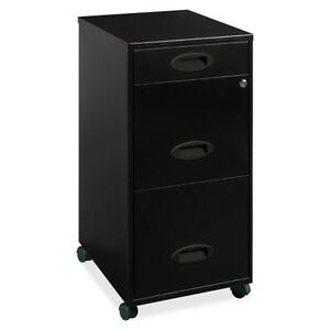 Lorell 17427 3 drawer Mobile Rolling File Cabinet 18 Depth Locking Drawer Black